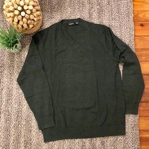 Claiborne v-neck Sweater XL Cashmere blend Hunter